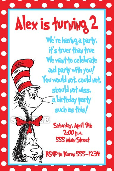 cat dr seuss birthday invitations wording