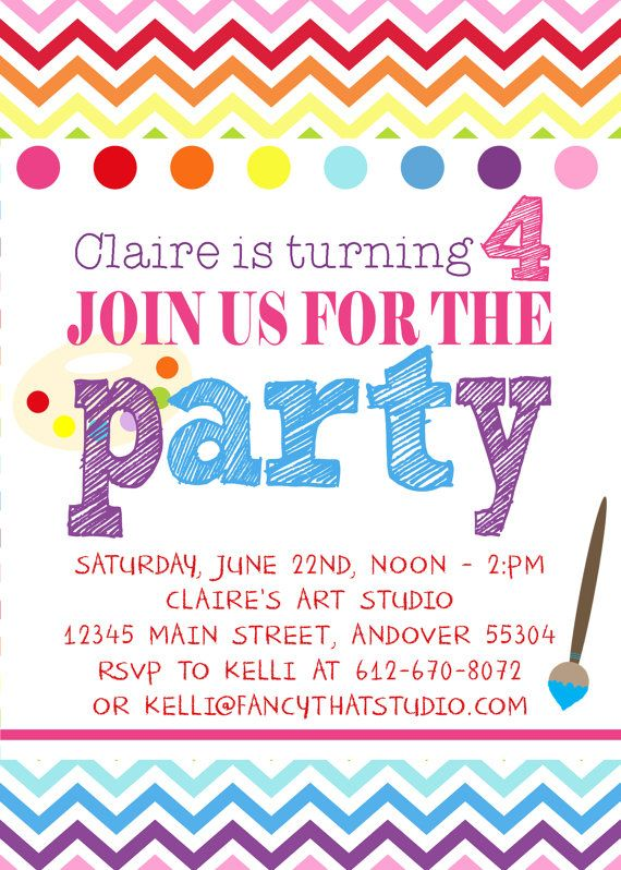 colorful art themed birthday party invitations