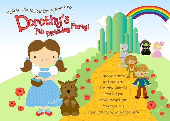 rainbow wizard of oz birthday party invitations card