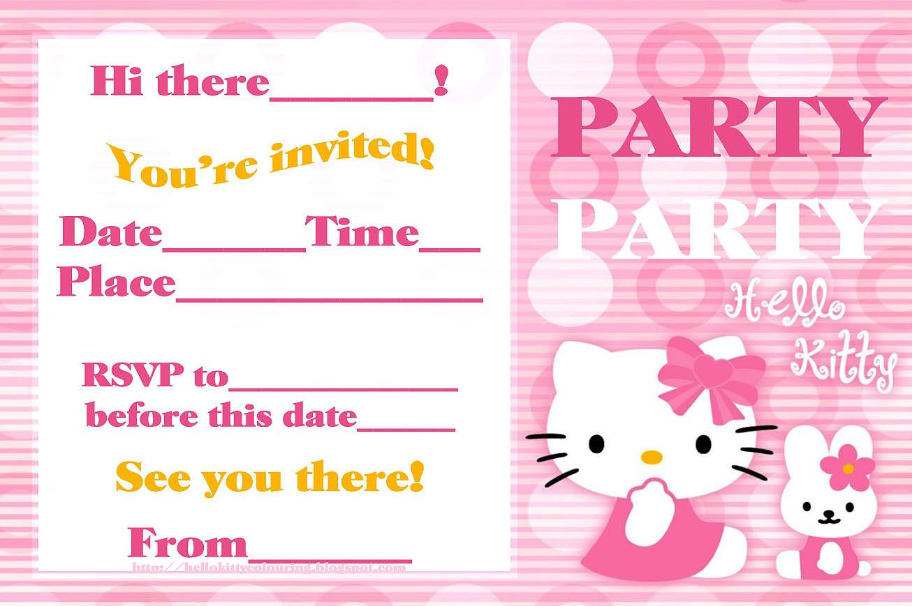 pink printable hello kitty birthday invitations