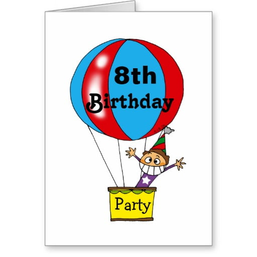 air balloon 8th birthday party invitations wording