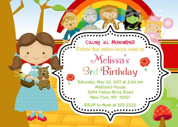 wizard of oz world birthday party invitations