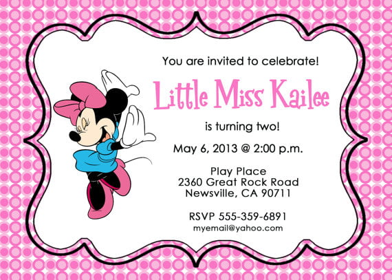 pink minnie mouse birthday invitations printable