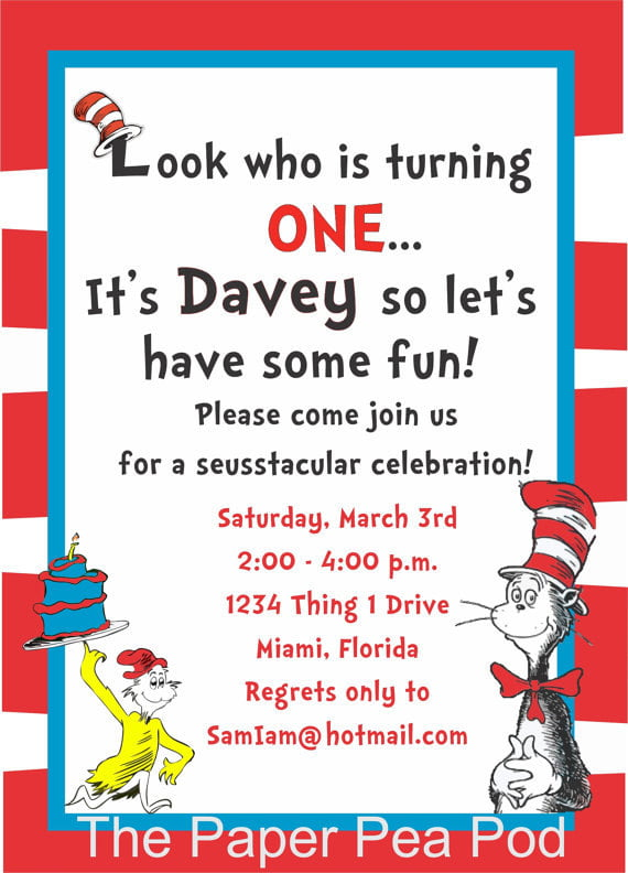 Free Printable Dr Seuss Birthday Invitations card