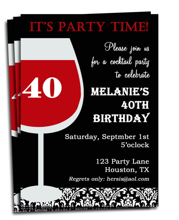 glamour Adult Birthday Invitation Printable