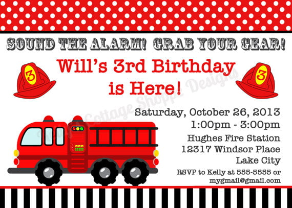 red free printables fire trucks birthday party invitations