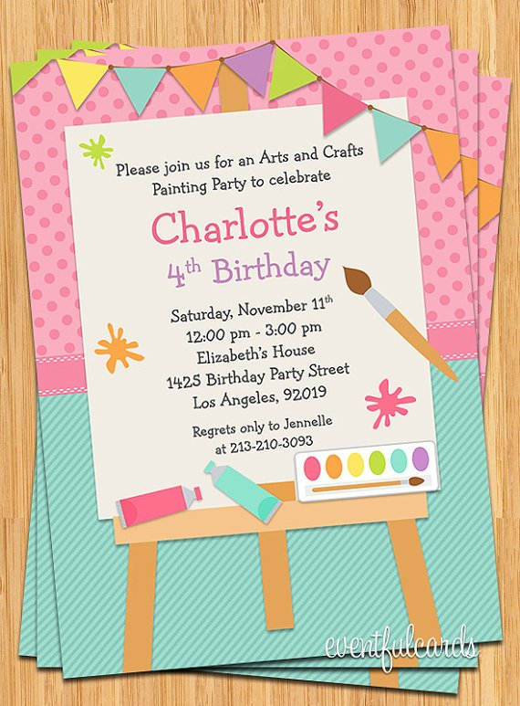 painting art themed birthday party invitations