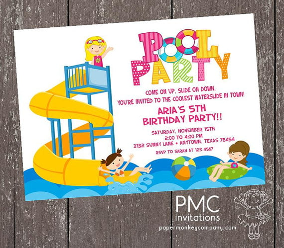 serpentine water slide birthday party invitations