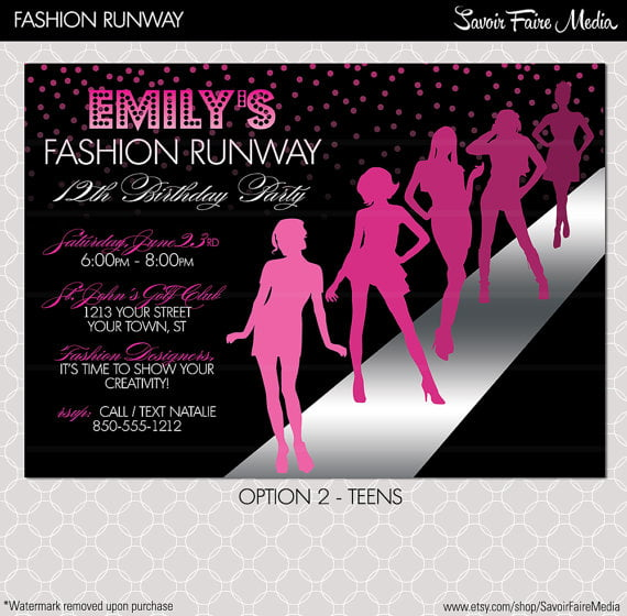 runway free printable birthday invitations for tweens
