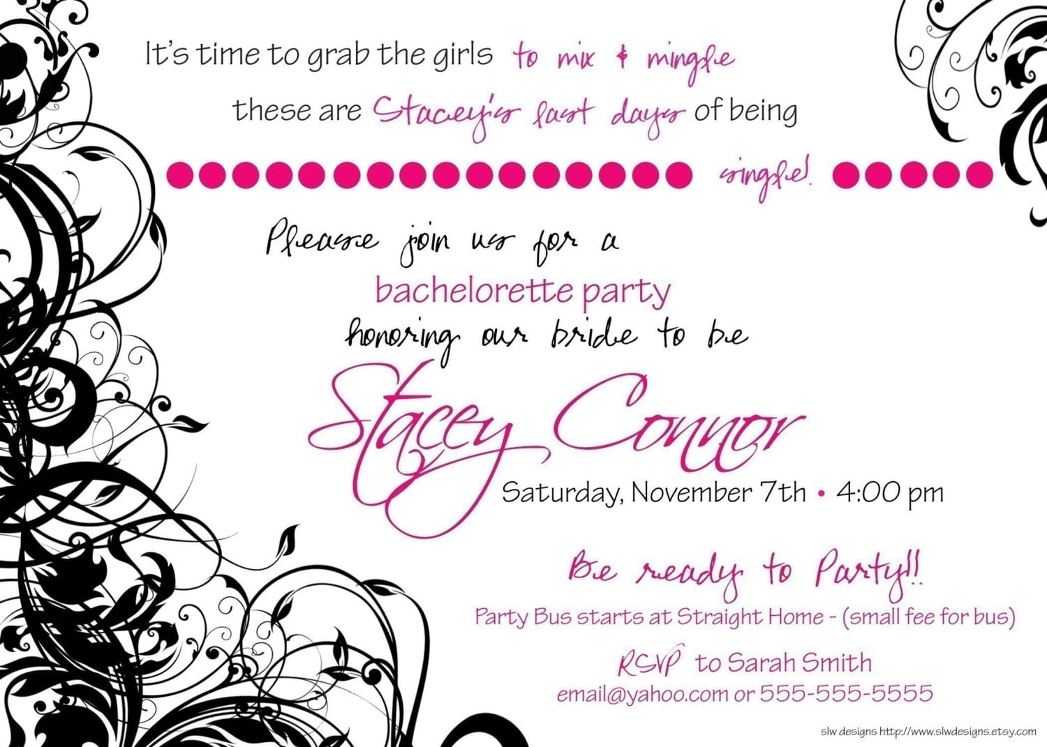 pink photo birthday invitation for adult