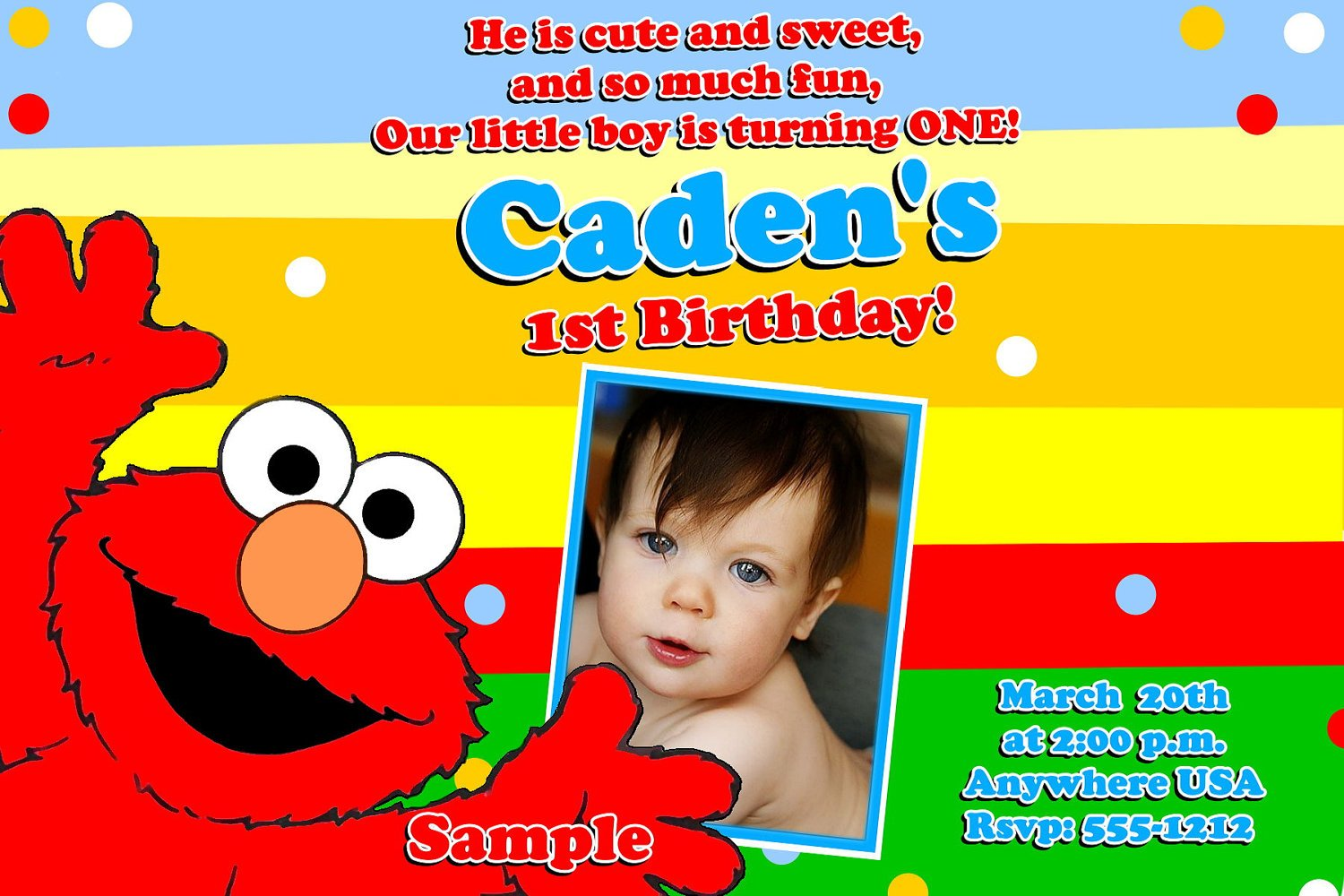 colorful elmo birthday invitations with photo