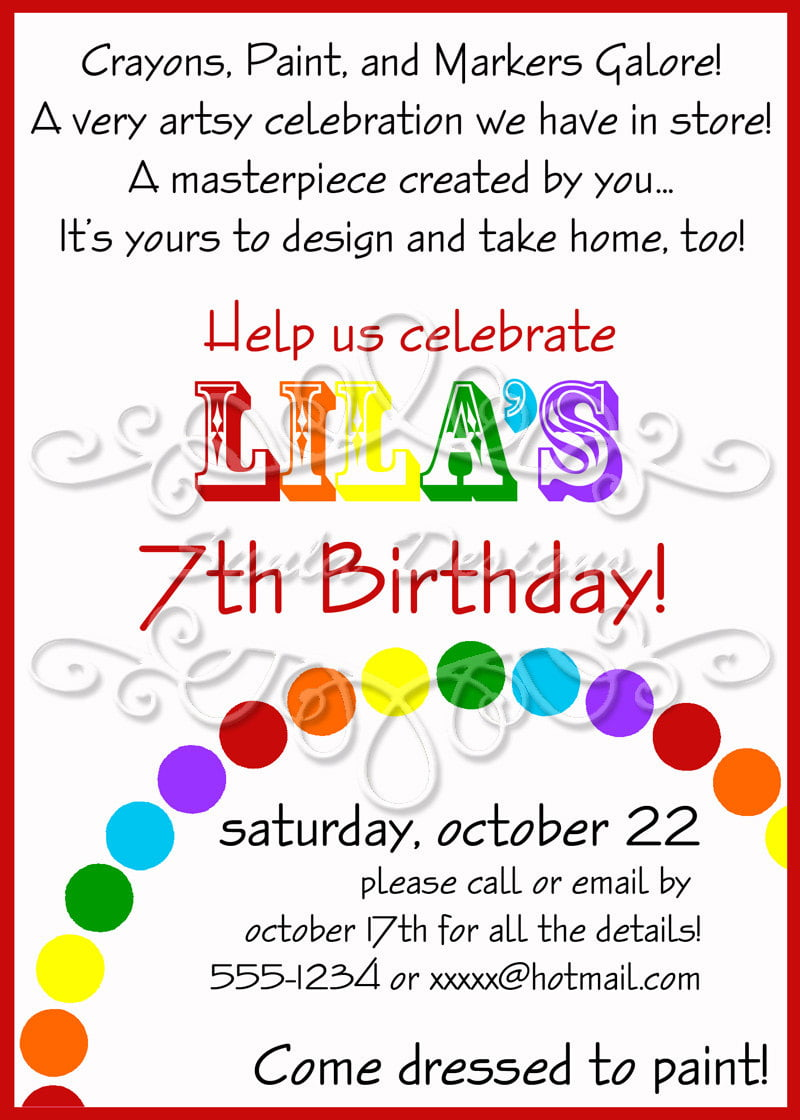 awesome art themed birthday party invitations