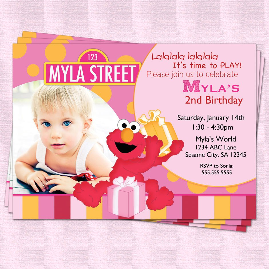 boys elmo birthday invitations with photo