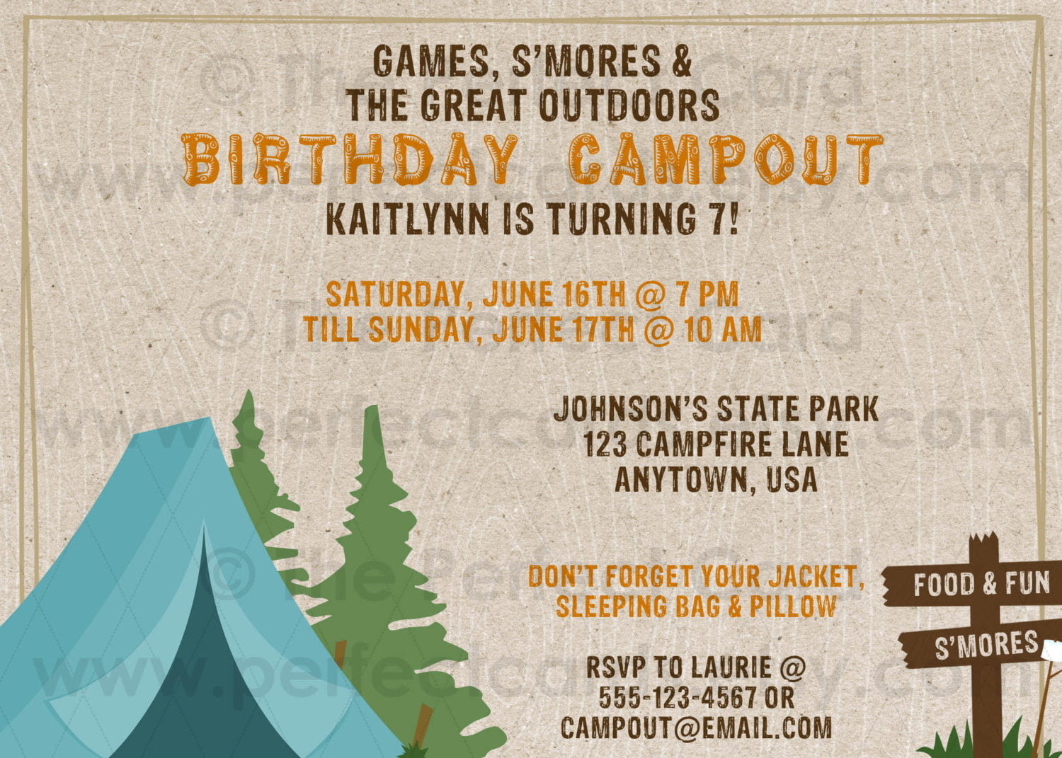 camp 30th birthday invitations for men