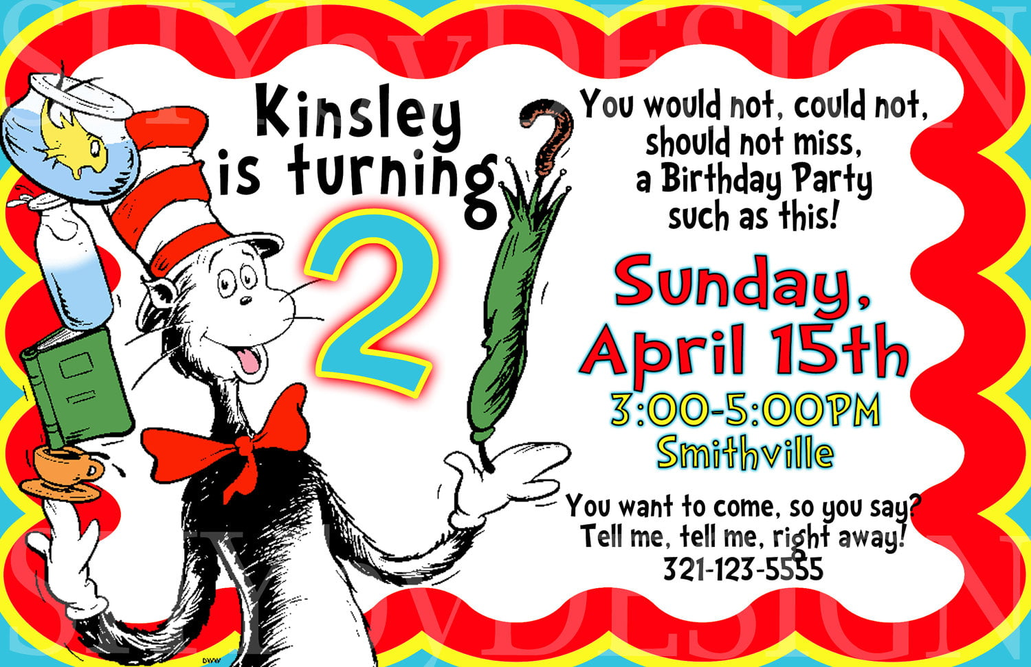cat free printable dr seuss birthday invitations