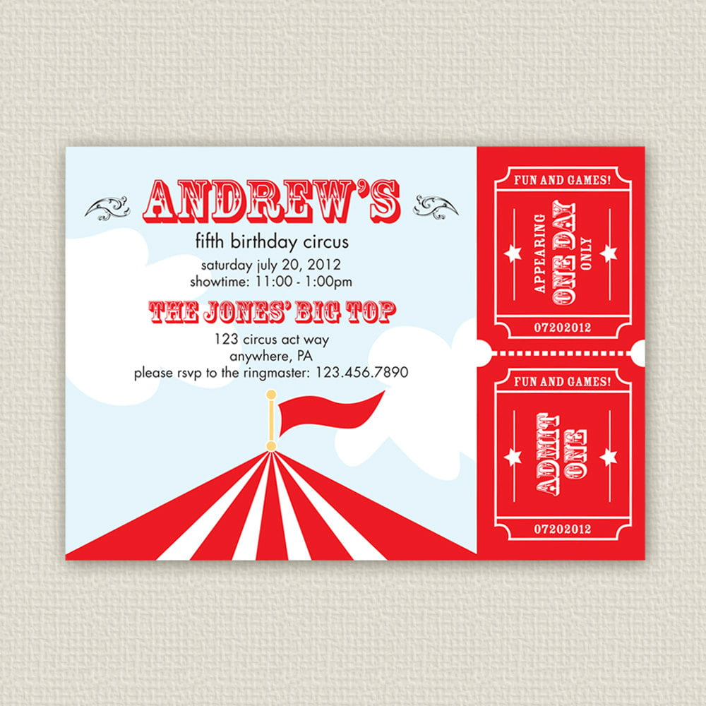 red white carnival birthday invitations