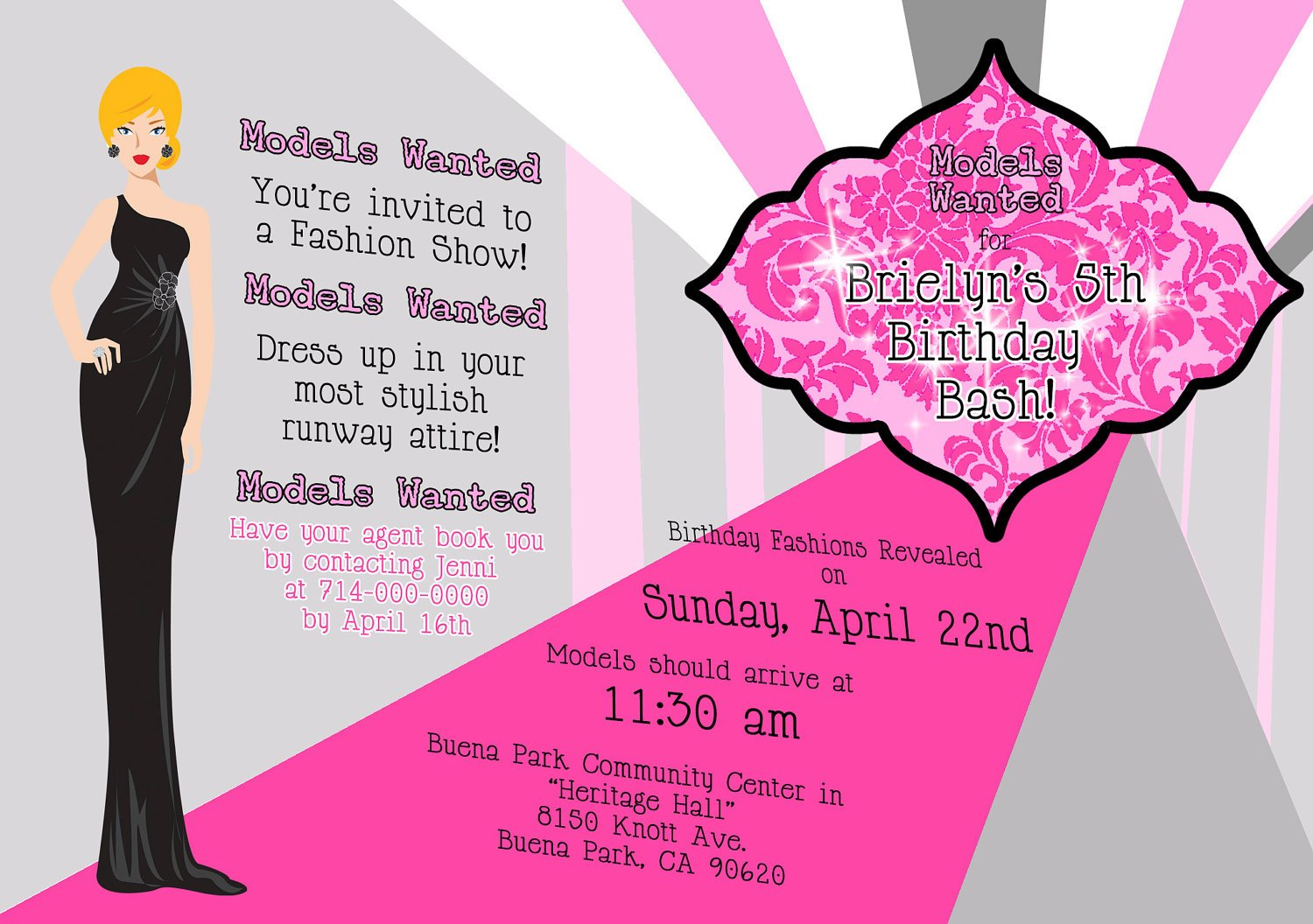 models fashion show birthday party invitations