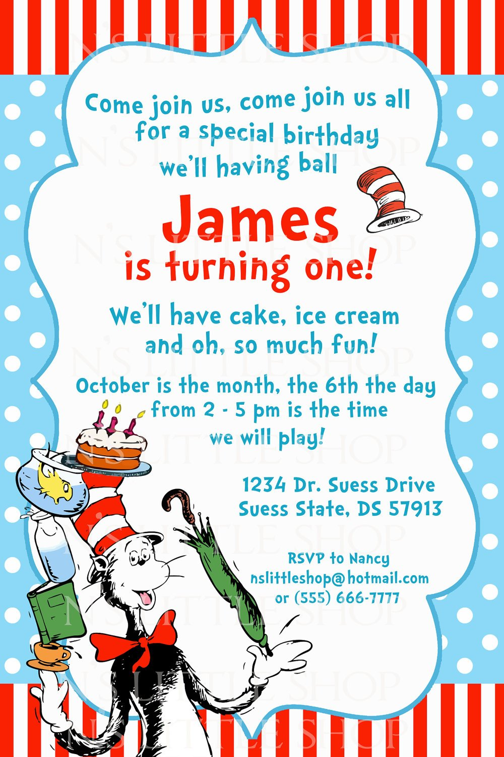 polka dots dr seuss birthday invitations wording