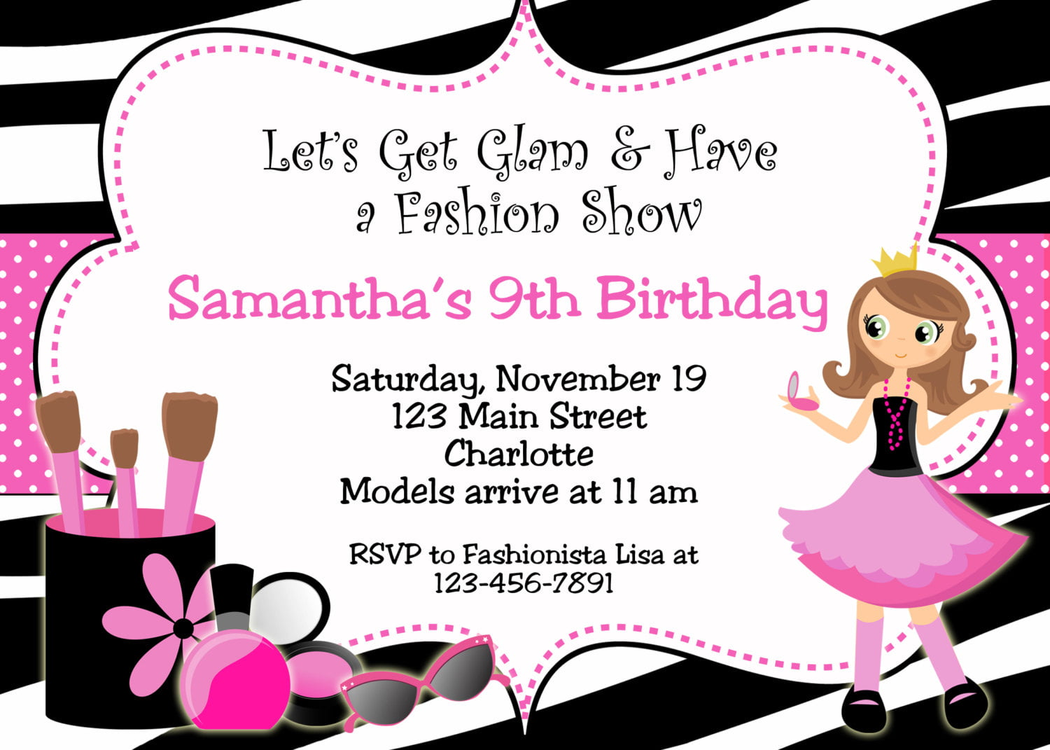glamour fashion show birthday party invitations