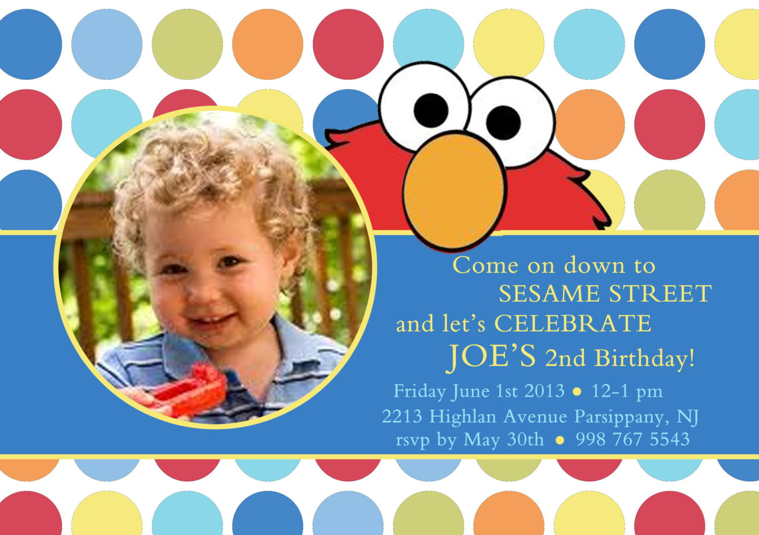 polka dots elmo birthday invitations with photo