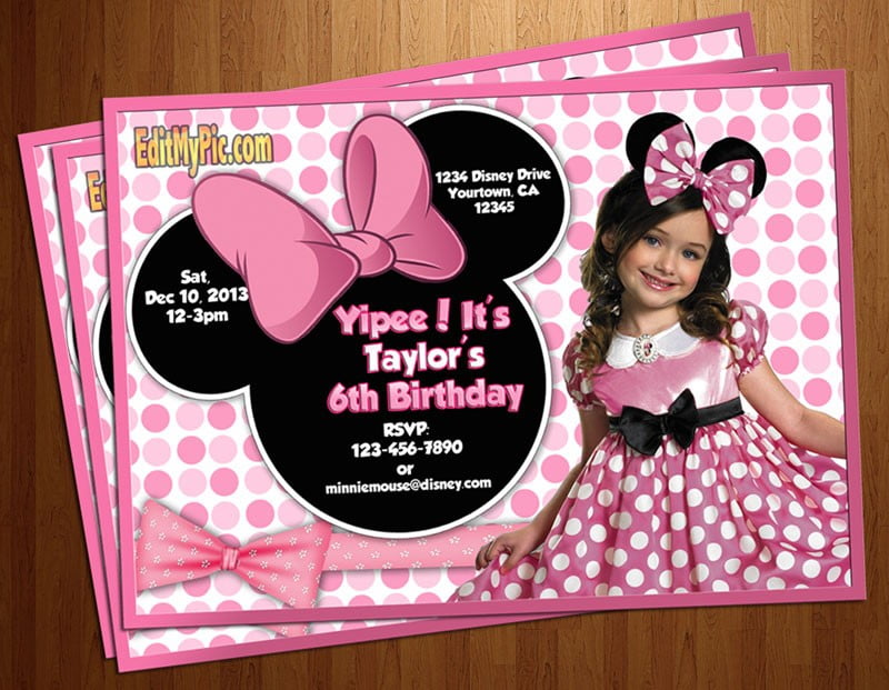 cute girl customized minnie mouse birthday invitations