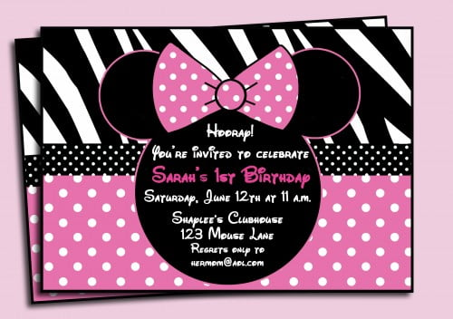 pink polkadot minnie mouse birthday invitations printable