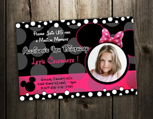 customized minnie mouse birthday party invitation card