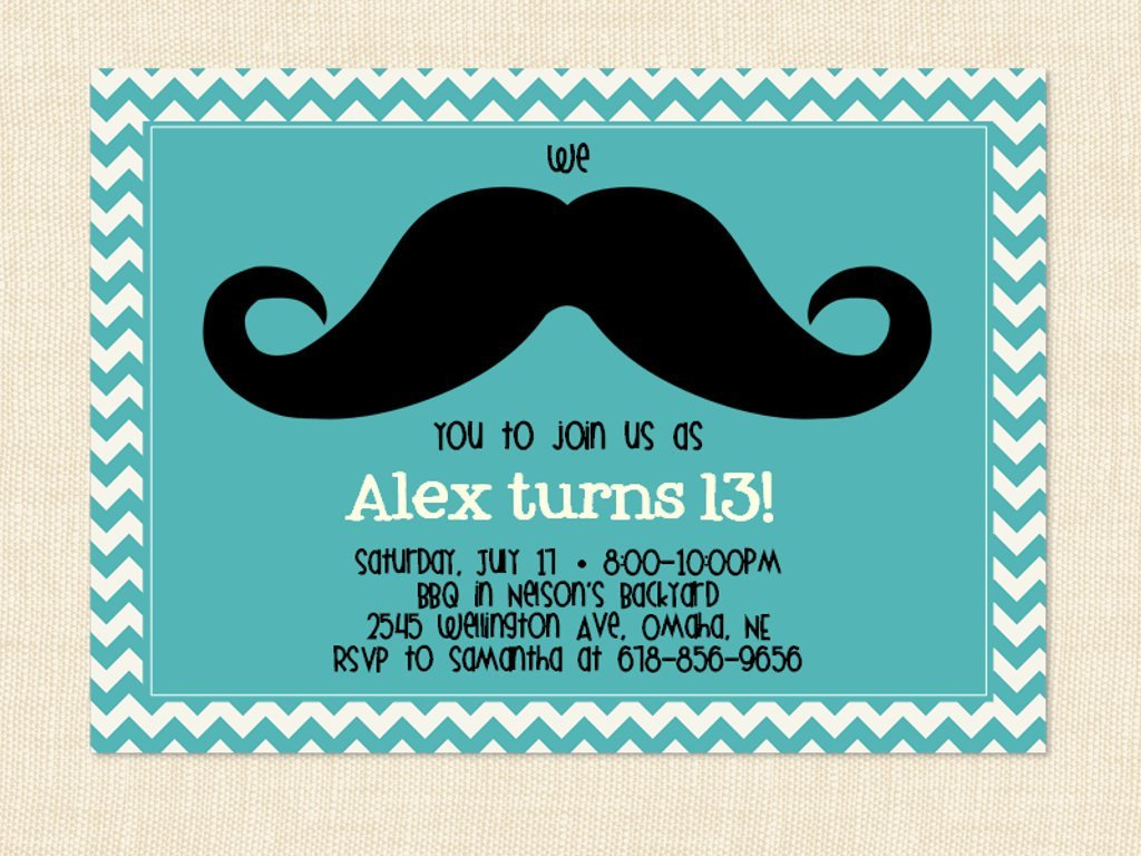 mustache 13th birthday party invitations wording