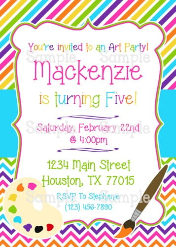 sweet art themed birthday party invitations