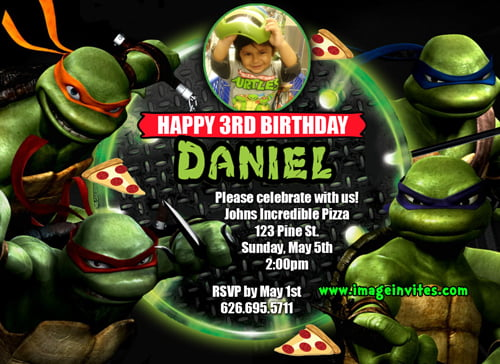 space teenage mutant ninja turtles birthday invitations