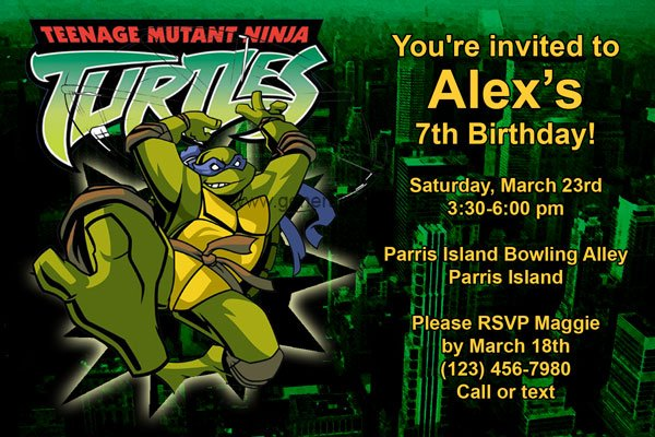 teenage mutant ninja turtles birthday invitation card