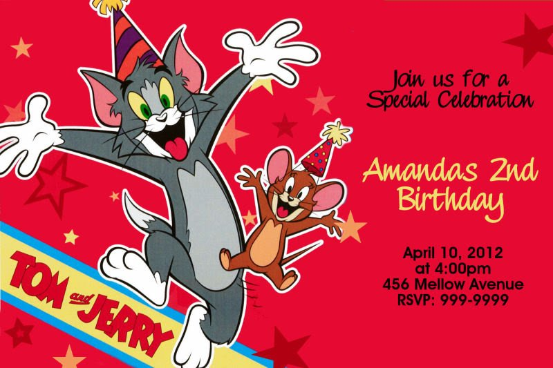 tom and jerry cheers birthday party invitations