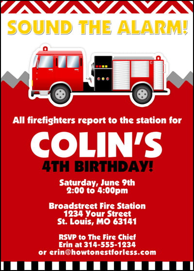 alarm free printables fire trucks birthday party invitations