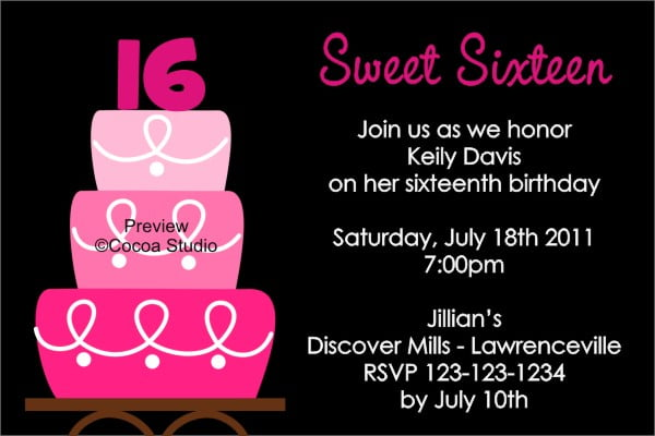 cakes sweet 16th birthday invitations templates free