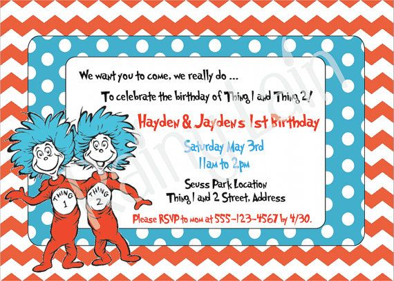 twins thing 1 and thing 2 birthday party invitations
