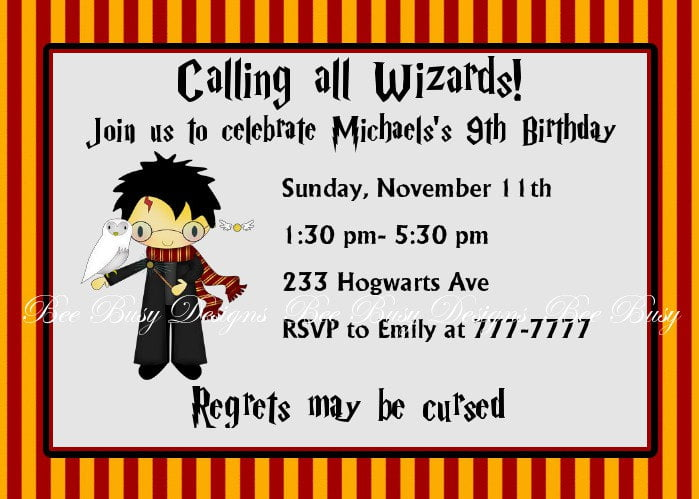 wizard harry potter birthday invitations printable