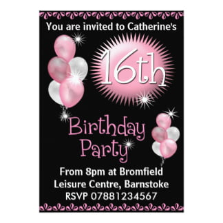 pink balloons sweet 16 birthday invitations templates