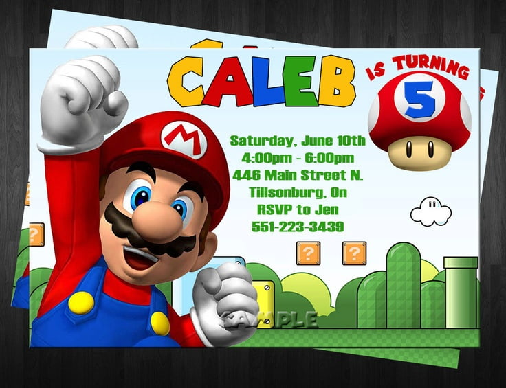 mario super mario brothers birthday invitations