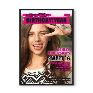 magazine sweet 16 birthday invitations templates