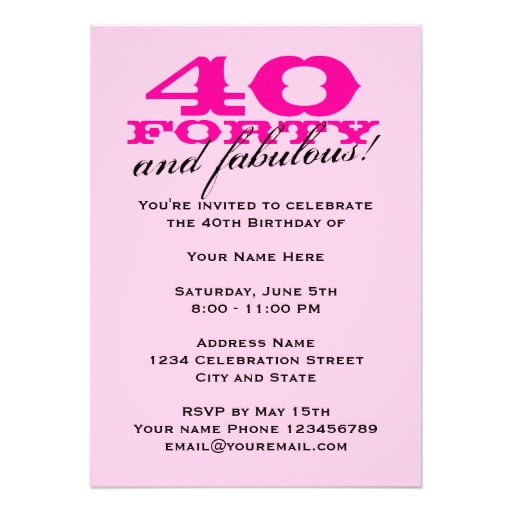 pink 40th birthday invitations for women