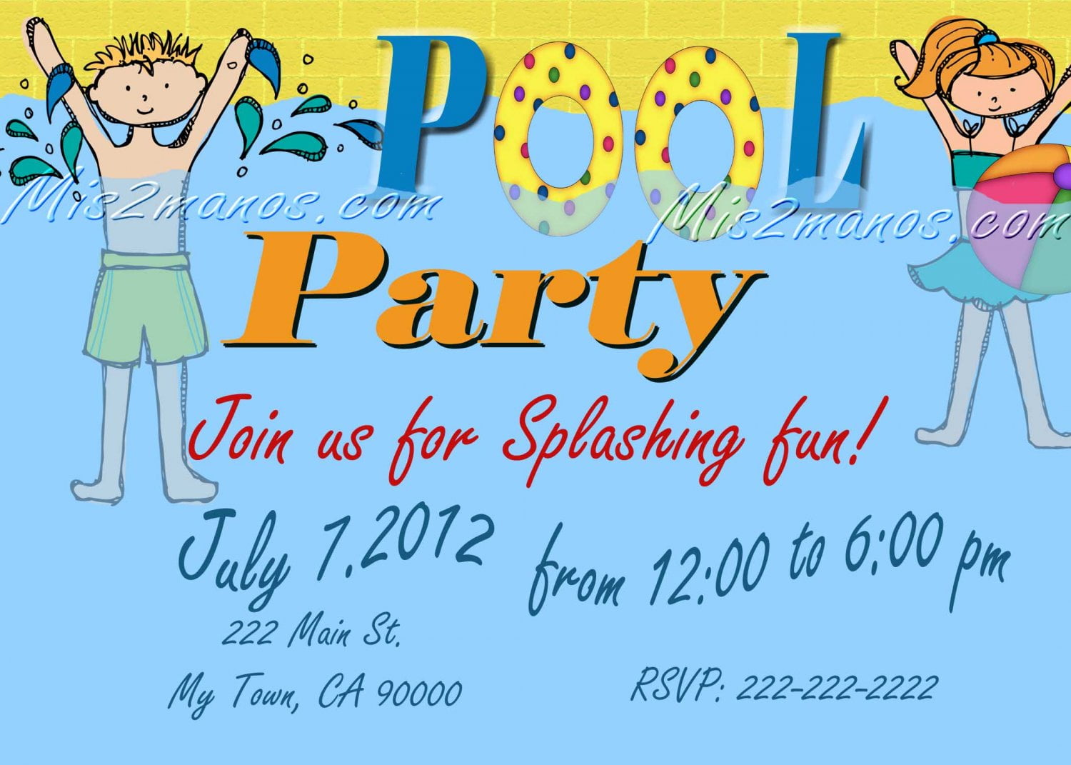 pool print birthday invitations at home