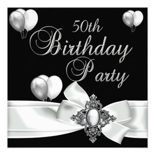 ribbon black and white birthday party invitations