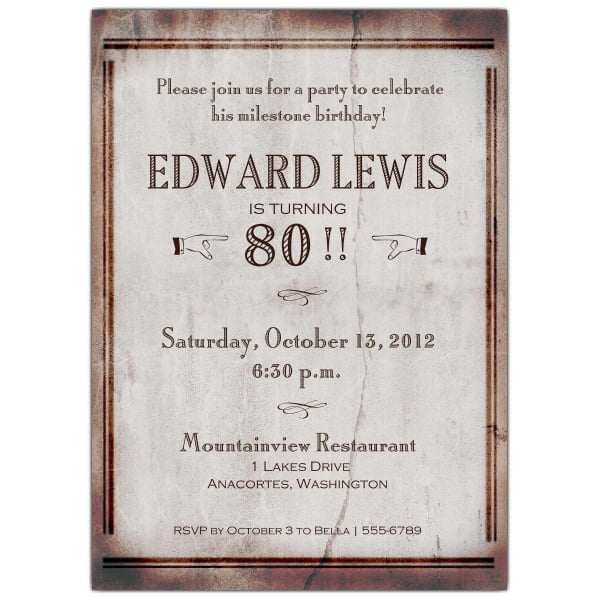 simple 80 years old birthday invitations