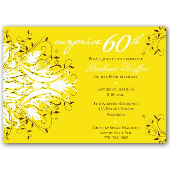 yellow surprise 60th birthday party invitations