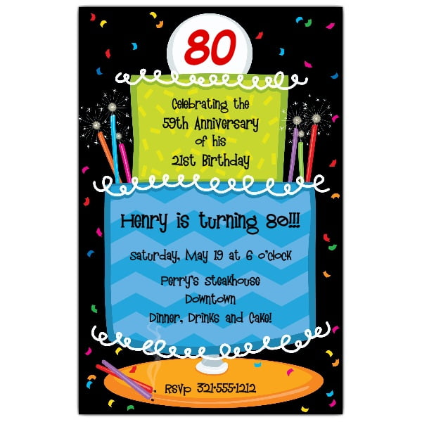 cakes 80 years old birthday invitations