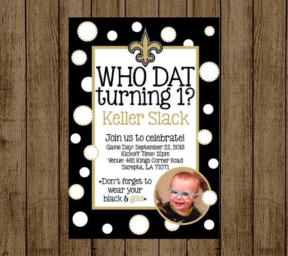 black white new orleans saints birthdayinvitations