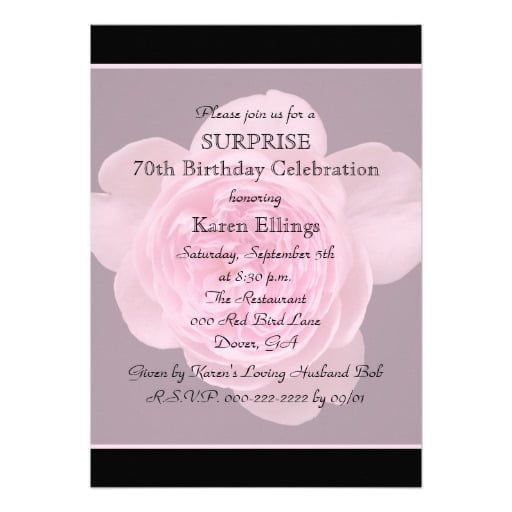 flowers surprise 70th birthday party invitations