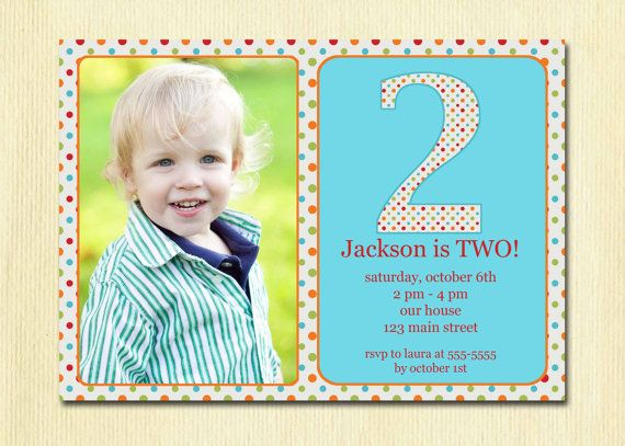 boys two years old birthday invitations