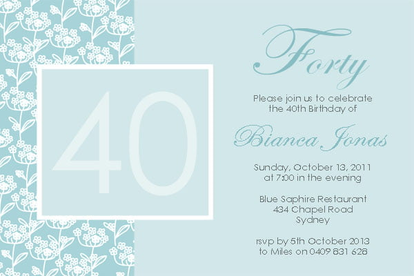 blue 40th birthday invitations for women