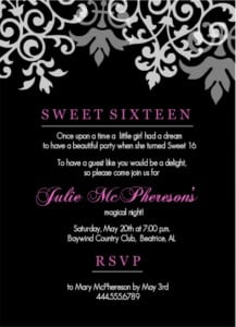 black and pink sweet 16 birthday invitations templates
